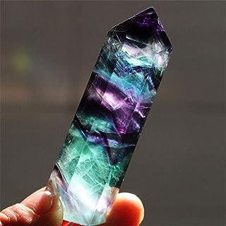 Pierre de Cristal de Quartz Fluorite Naturelle - Point de Baguette de Cristal Hexagonale d'Améthyste de Guérison, Élimine ...