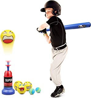 Lydaz Tee Ball Set, Automatic Baseball Launcher with 5 Soft Balls and Stretchable Bat - Toddler Outdoor Toys for 2 3 4 Yea...