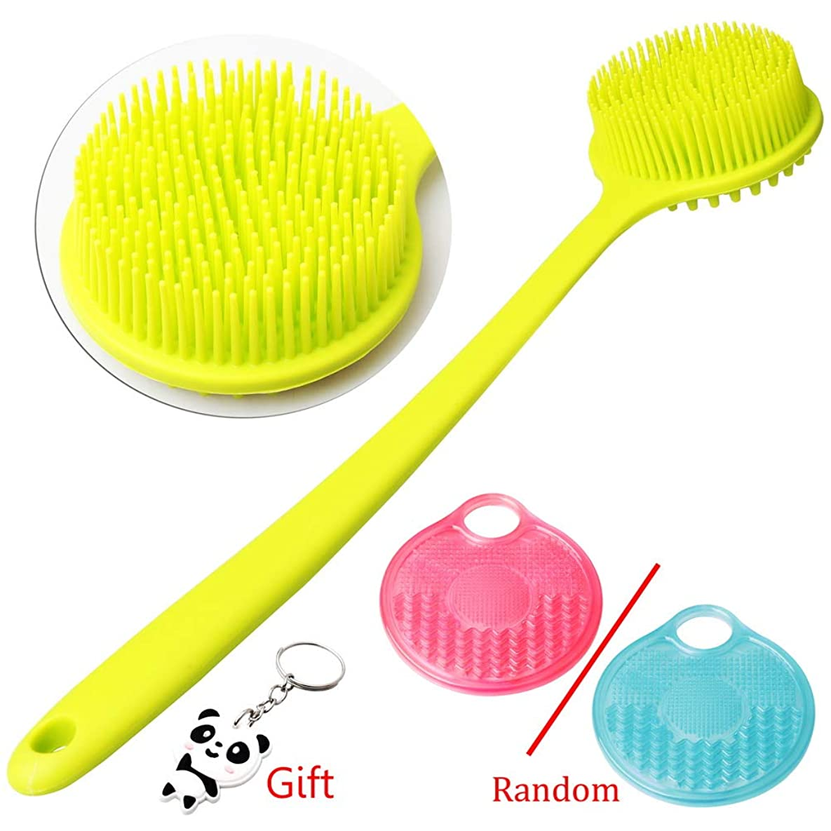 ガード取り消すアンビエントボディブラシ 体洗いブラシ 2個セット シャワーブラシ 血行促進 角質除去 美肌効果 お風呂用 シリコン製 グリーンとピンク