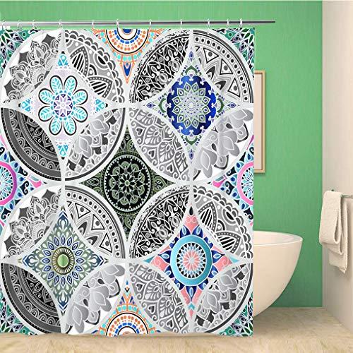 Awowee - Cortina de Ducha (180 x 180 cm, poliéster), diseño Floral con patrón de retales y círculos de Mandala, Resistente al Agua, con Ganchos para el baño