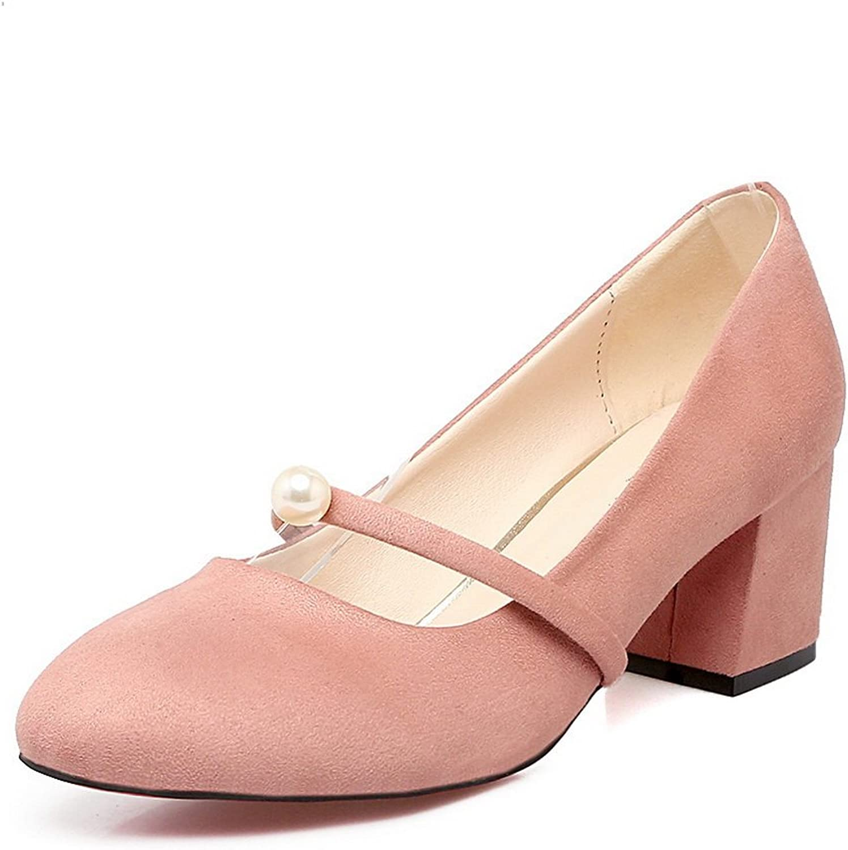 BalaMasa Ladies Beaded Chunky Heels Low-Cut Uppers Suede Pumps shoes