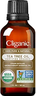 Cliganic Organic Tea Tree Essential Oil, 100% Pure Natural, for Aromatherapy | Non-GMO Verified