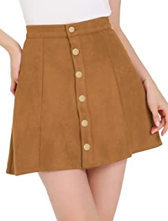 Allegra K Women's Faux Suede Button Closure A-Line High Waisted Stretchy Mini Short Skirt