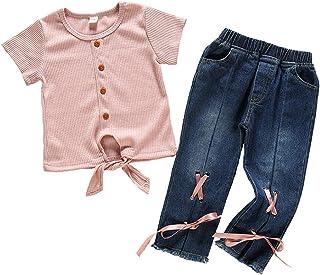 0-4 Años,SO-buts Recién Nacido Niñito Infantil Bebés Niñas Pequeñas Camiseta Punto Color Liso Tops Jeans Pantalones Conjun...
