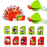 Frog Mouth Take Card Tongue Tic-Tac Chameleon Tongue Funny Board Game for Family Party Toy,Be Quick to Lick Cards Toy Set (1Set)