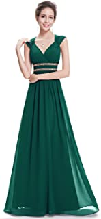 Women's Elegant V-Neck Sleeveless Formal Long Evening Dress 08697