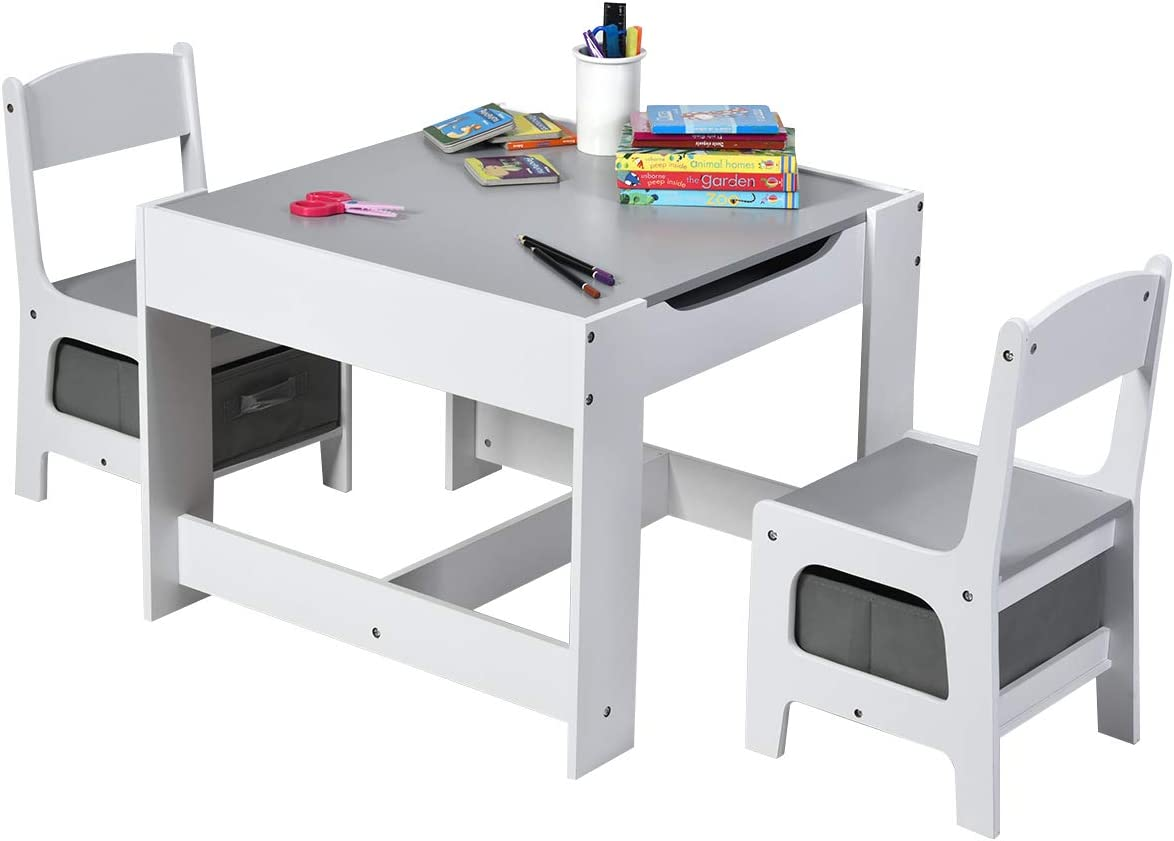 Amazon.com: Costzon 3 in 1 Kids Wood Table & 2 Chair Set, Children Activity Table Desk Sets w/Storage Drawer, Detachable Blackboard for Toddlers Drawing Reading Art Playroom, 3-Piece Kid-Sized Furniture (Gray): Furniture