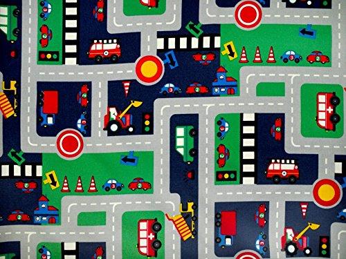 ab 1m: Kinderstoff, Autos und Schilder, marine-multicolor, 140cm breit