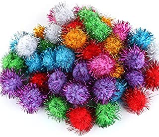 TECH-P Arts Craft Pom Poms Glitter Poms Sparkle Balls Pet Toy Balls Party Holiday Christmas Decorations- Assorted Color (1.5 Inch with Glitter Tinsel- 200 Pack)+1 PCS Gift Coaster Free