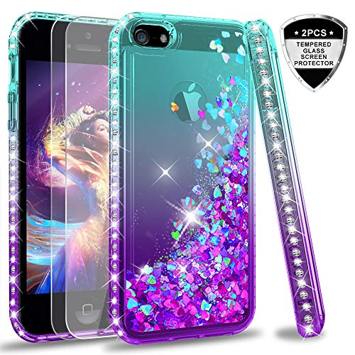 LeYi iPhone SE Case (2016), iPhone 5S Case, iPhone 5 Case with Tempered Glass Screen Protector [2Pack] for Girls Women, Glitter Bling Liquid Quicksand Phone Case for iPhone 5/5S/SE, Teal/Purple