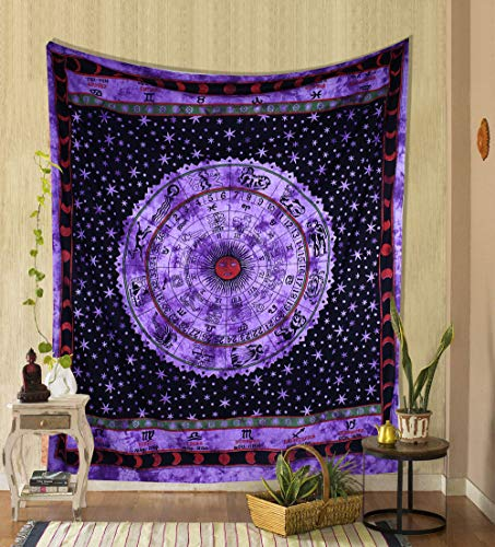 THE ART BOX Purple Zodiac Tapestry Wall Hanging Horoscope Tapestry Dorm Room Tapestries Hippie Tapestry Indian Astrology Trippy Celtic Psychedelic Tapestry Wall Hanging Space Rashi Tapestry