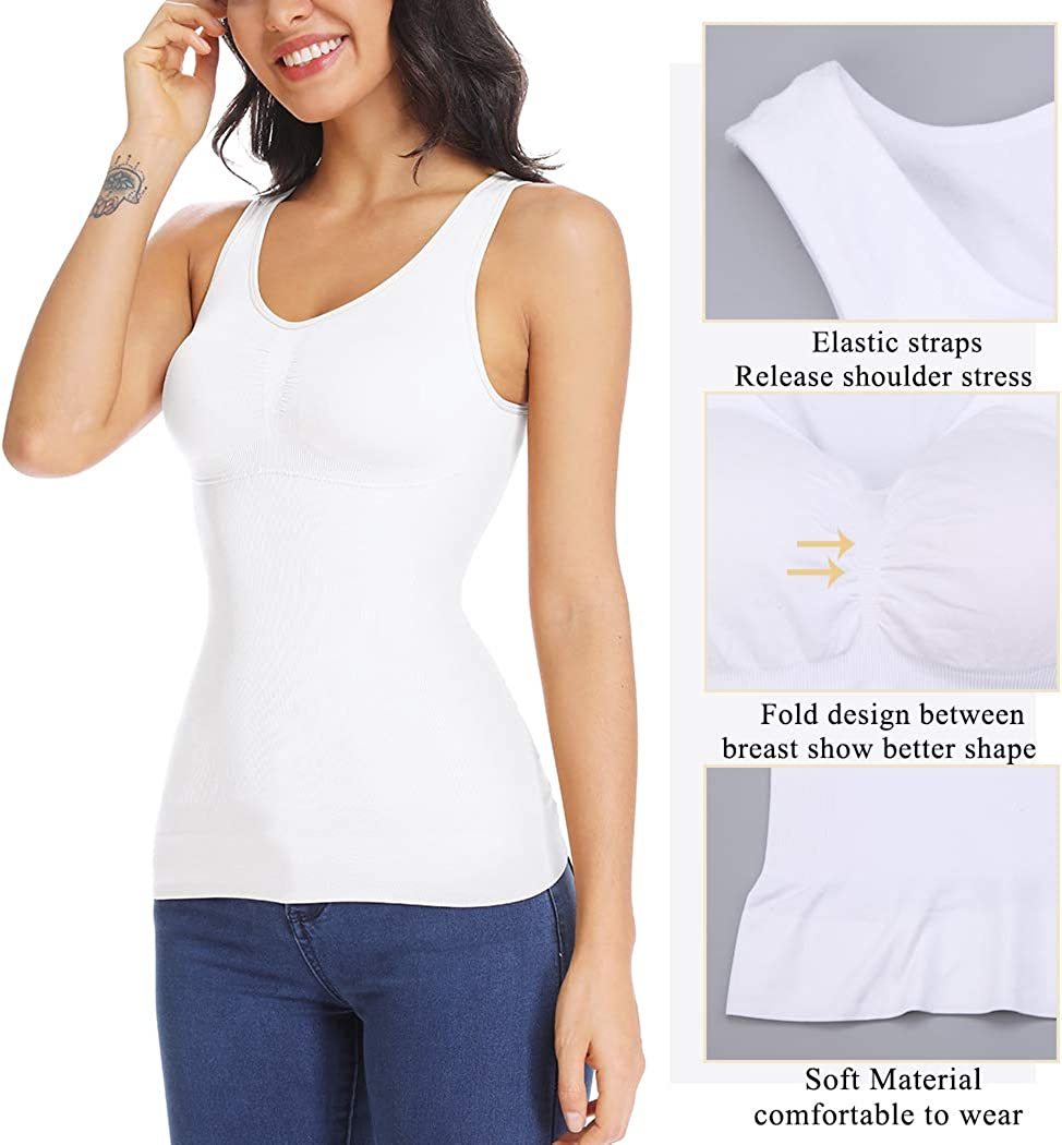 Shapewear Tank Top with Built in Bra Slimming Cami Shaper Compression Top for Women Tummy Control Camisole