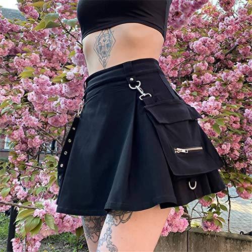ORANDESIGNE Plaid Costura Sexy Punk Falda Plisada Gótica Falda Mujer Punk Girl Falda Plisada Irregular Falda de Una Línea de Cintura Alta Falda de Cadena de Cintura Cool H Negro M