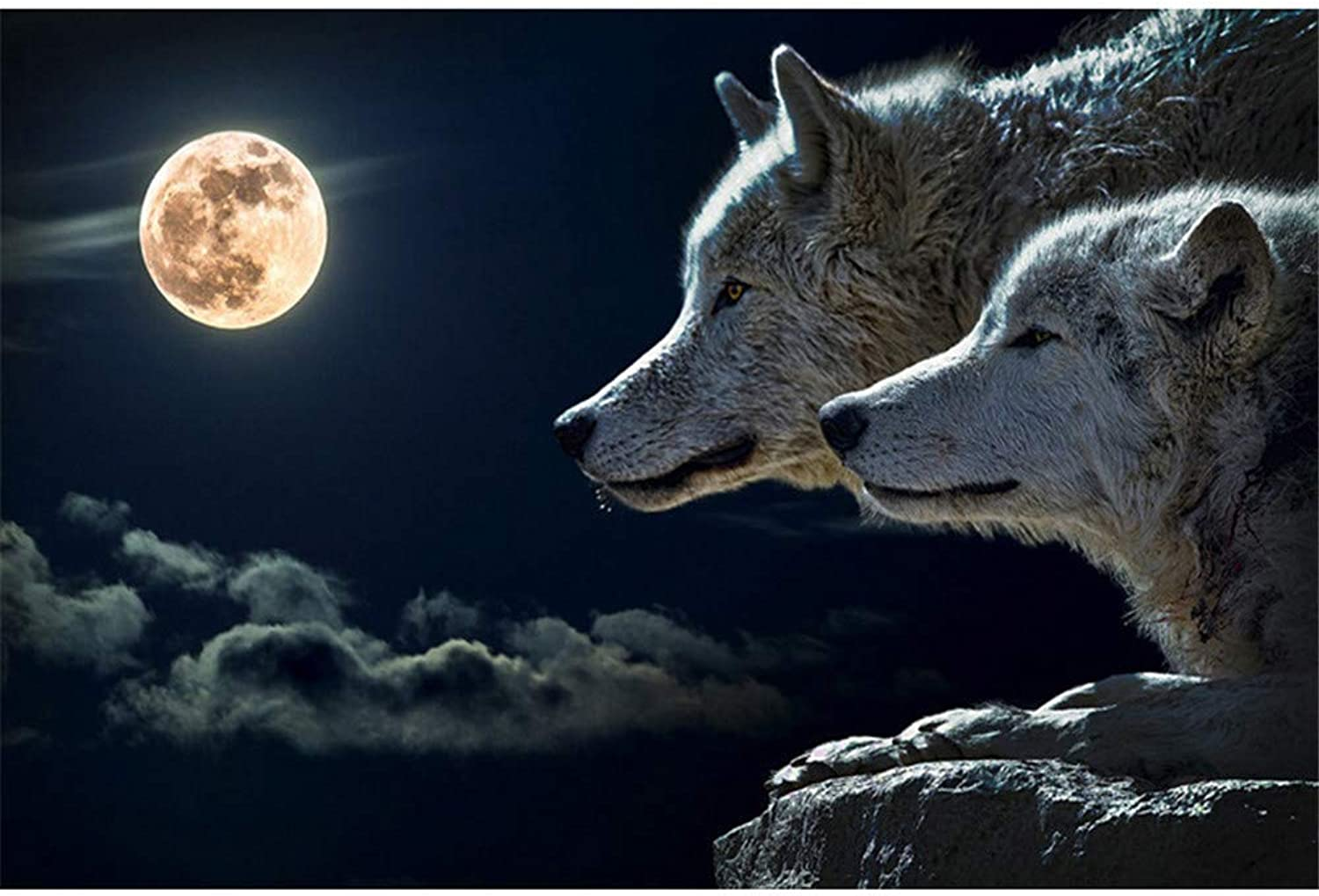 DIY Oil Paint by Number Kit for Adults Beginner 16x20 Inch - Moonlit Wolves,Drawing with Brushes Living Room Decor Decorations Gifts (Framed)