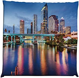 YOLIYANA City Durable Square Chair Pad,Hillsborough River Tampa Florida USA Downtown Idyllic Evening at Business District for Bedroom Living Room,One Size