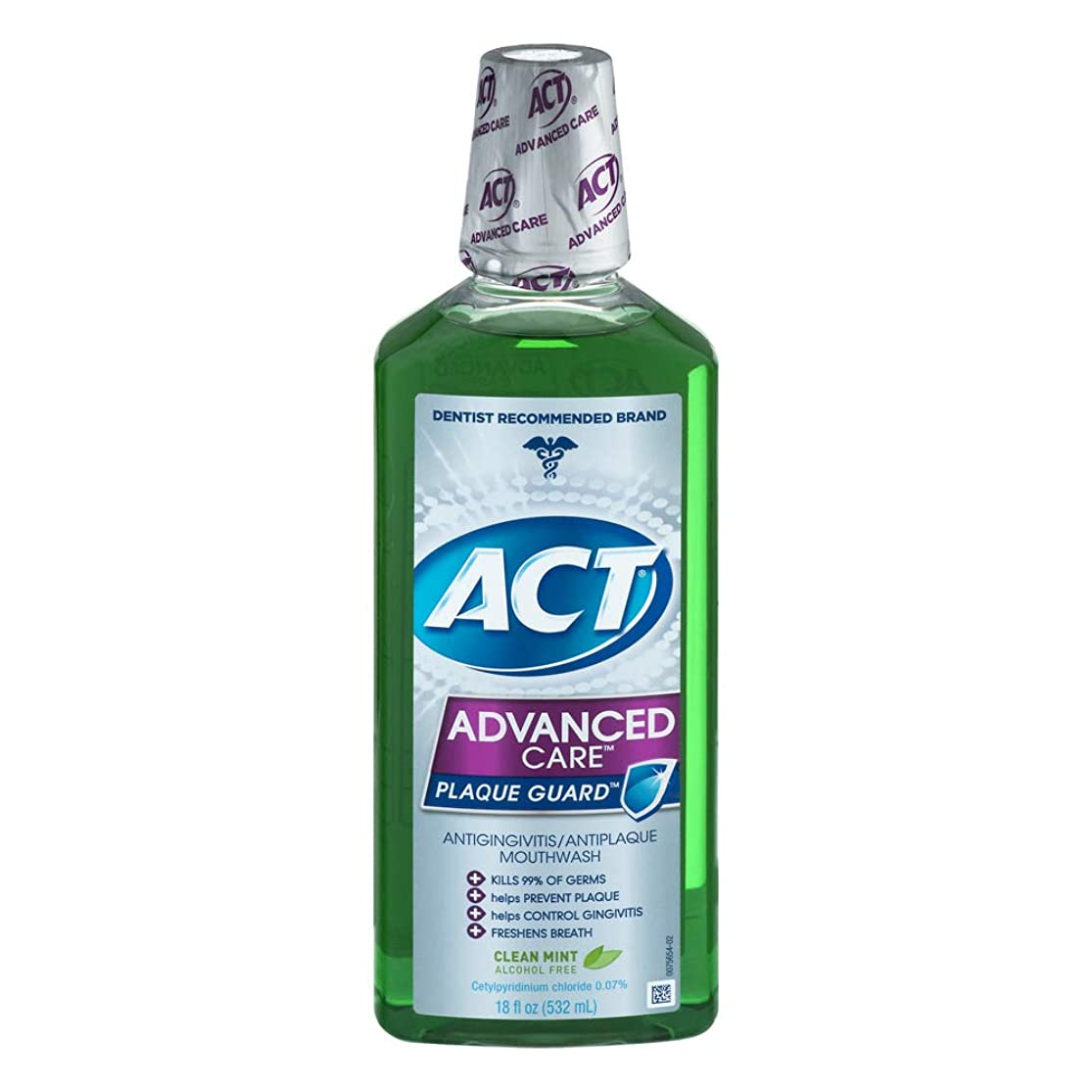 先見の明順応性同様にACT Advanced Care Plaque Guard Mouthwash, Clean Mint 18 oz Pack of 3 by ACT