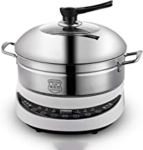 304 Stainless Steel Instant Cooker Food Steamer Pot Food Warmer Electric Steamer (Color : White)