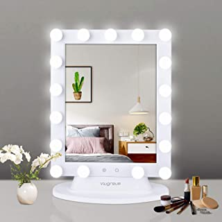 Viugreum Hollywood Vanity Mirror with Lights, Dimmable Lighted Makeup Mirror, Cosmetic Vanity Mirror Sets with Smart Touch Control Dimmer, Included 10X Magnifying Mirror and 2 PCS Replace Lamp Shades