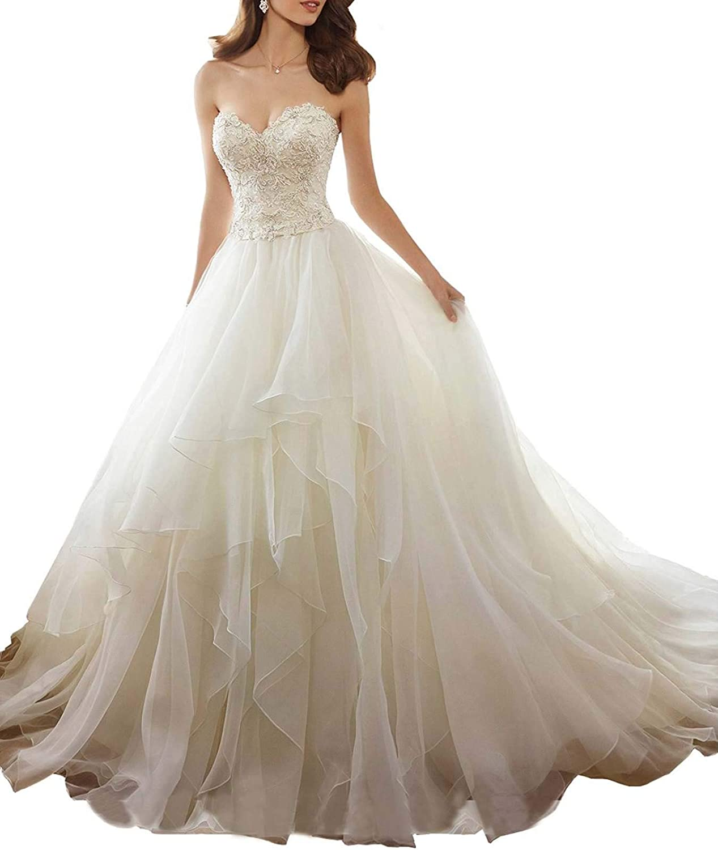 Jerald Norton Ltd Women's Sweetheard Ruffles Bridal Gown Beading Lace Appliques Wedding Dresses