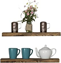 Del Hutson Designs-Rustic Pine Floating Shelves (Dark Walnut, 24 Inch)
