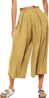 FRPE Women Loose Fit Wide Leg Solid Color Cotton Linen Retro Capri Pants