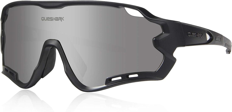 Queshark Gafas de Ciclismo para Hombre Mujer Bicicleta de Carretera 1 Lente Polarizada 3 HD UV400 Lente 10 Colores