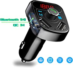 Car Charger Bluetooth5.0, QC3.1 Dual USB Ports X8 with Display, Wireless FM Transmitter Adapter, MP3 Player Hands-Free Call Smartphone Music USB/TF Card Power Cut Memory Support Aux Input Output