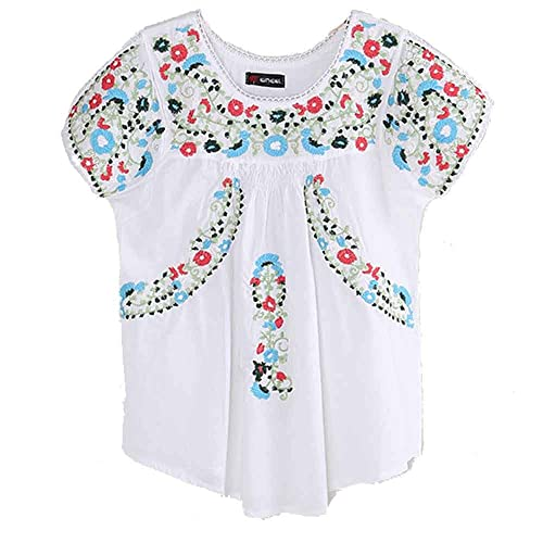 c8e537566a2 Ashir Aley colorful Flowers Embroidered Peasant Tops Mexican Blouse
