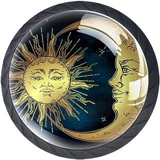 Golden Sun Crescent Moon and Stars - Juego de 4 pomos de cristal ABS para armario de cocina cajones y aparador