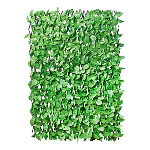 GardenKraft 26130 2x1m Efeu hellgrün Ausziehbarer Rahmen | UV-Schutz vo Künstliche Hecke Blätterhecke, grün, 200x5x100 cm