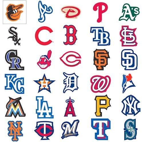 MLB Major League Baseball Team Logo Stickers Set of 30 Teams 4
