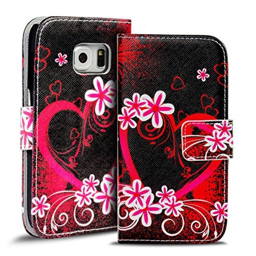 Verco Handyhülle Galaxy S6 Edge Muster, Motiv Hülle für Samsung Galaxy S6 Edge Book Case Flip Cover - Design 10