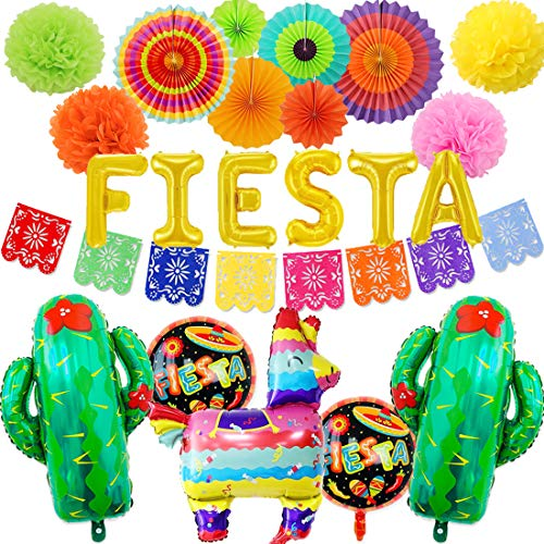 JOYMEMO Fiesta Mexicana Decoraciones de Fiestas Temáticas Picado Banner Globos de Piñata Abanicos de Papel de Colores Pompones para Cumpleaños de Niña Baby Shower