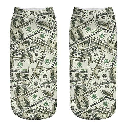 Honestyi Nette beiläufige Arbeits Geschäfts Baumwollsocken Medium Sportsocken des Drucken 3D Meine Dollar Banknoten Muster Druck Socken