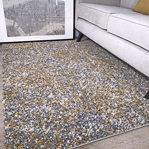 """The Rug House Murano Alfombra con diseño Tonal Mezclado Moteado Color Amarillo Ocre Mostaza Dorado y Gris Crema 120cm x 170cm (3'11"""" x 5'7"""")"""