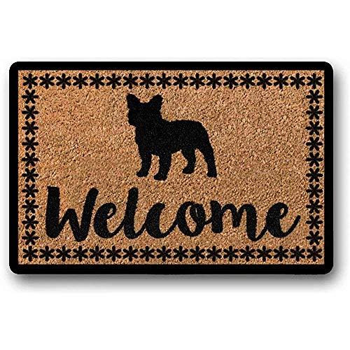Novelcustom Welcome Tappeti,Zerbino Bulldog Francese Zerbino Regalo Inaugurazione della Casa Regalo Zerbino Personalizzato Zerbino Personalizzato Divertente 80 * 50Cm