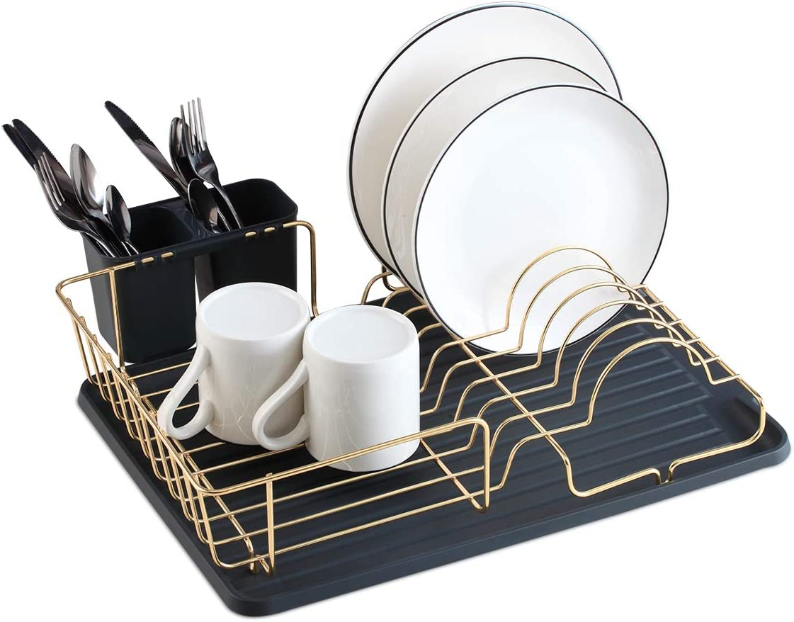 Buruis Dish Max 52% OFF Drying Rack Gold Organizer Re Drainer Includes Recommendation