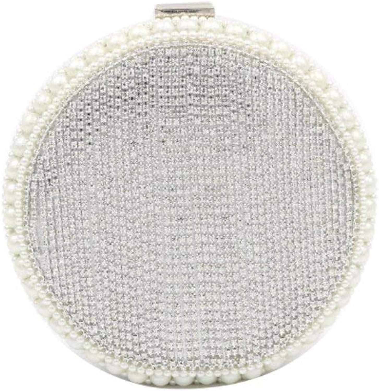 Ladies Handbag Evening Bag Diamond Round Pearl Bag Hand Shoulder Diagonal Evening Fringe Bag (color   Silver)
