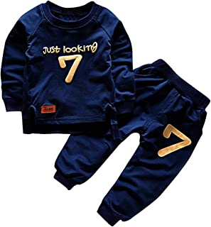 puseky Toddler Baby Boys Girls Sweatshirt Tops+Pants Tracksuits Outfits Clothes