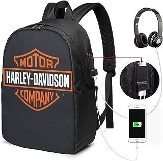 Harley Davidson USB Backpack 17-Inch Laptop Backpack Adjustable Shoulder Strap Men's and Women's Business Travel College School Backpacks