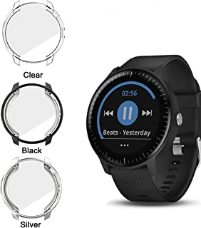 Garmin Vivoactive 3 Music Protector Case,JZK Soft TPU Plated Screen Protector Cover All-Around Protective Screen Cover Bumper Shell for Garmin Vivoactive 3 Music Watch,Black+Silver+Clear