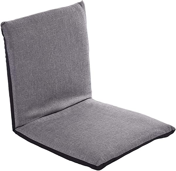 带可调节靠背的软垫地板椅便携式舒适的半折叠式地板座椅用于冥想研讨会阅读电视观看或游戏灰色