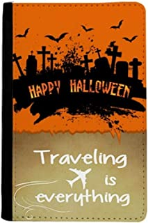 Horror Night Cemetery Halloween Traveling quato Passport Holder Travel Wallet Cover Case Card Purse