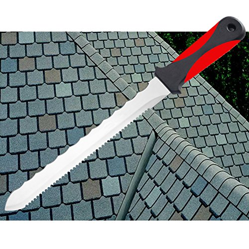 Keyfit Tools CUTS ALL KNIFE, Stainless Steel Box Cutter Utility Roofing Knife Shingles Carpet Knife Blade Double Sided Serrated Blade for Cardboard Carpet Linoleum Drywall Vinyl flooring