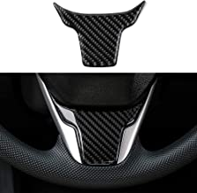 Thenice for 10th Gen Civic Real Carbon Fiber Steering Wheel Trims Interior Wheel Cover Decoration for 2016 2017 2018 2019 Honda Civic (no logo)