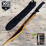 27' Deathstroke Machete 2 Tone Blade Gold & Black Full Tang Tactical Ninja Sword Carbon Steel Sharp Blade + Free eBook by Survival Steel