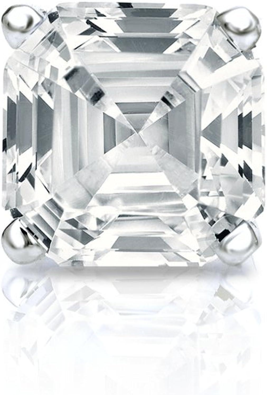 Platinum Ranking TOP8 4-Prong Basket Asscher-cut Las Vegas Mall STUD Diamond Earring SINGLE