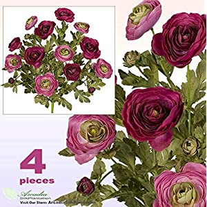 Sejahtera Group Ranunculus Flowers Artificial Silk Plant FUTT Lot of 48