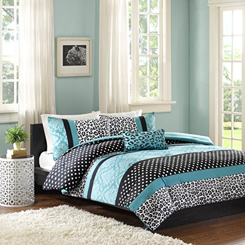 Mi Zone Chloe Comforter Set Full/Queen Size - Teal, Polka Dots, Damask, Leopard – 4 Piece Bed Sets – Ultra Soft Microfiber Teen Bedding for Girls Bedroom