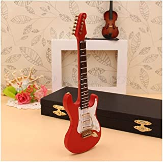 Gift Box 10cm Miniature Electric Guitar Replica with Box Stand Musical Instrument Model Ornament Home Decoration Kit Gift ...